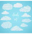 collection scribble clouds vector image