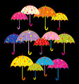 colorful umbrella on black background vector image