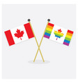 Crossed original canada flag and pride canada flag vector image