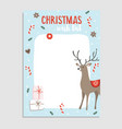 cute christmas greeting card wish list reindeer vector image