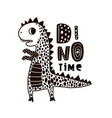 cute hand drawn dino with lettering cartoon super vector image vector image