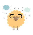 cute sheep with stars and clouds isolated vector image