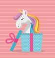 cute unicorn with gift kawaii character birthday vector image