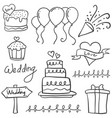 element wedding party in doodle style vector image vector image