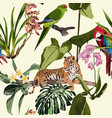 exotic animal tiger and parrot in jungle vector image vector image