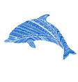 fantasy ornamental dolphin blue color vector image