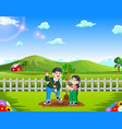 father and daughter planting tree in the park vector image vector image