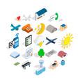 flight icons set isometric style vector image
