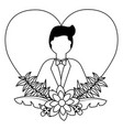 groom in suit flowers love heart wedding vector image vector image