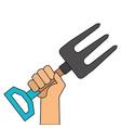hand with gardening rake vector image