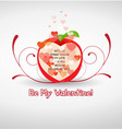 Happy valentine greetings with apple vector image vector image