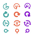 Icons Pack and restart refresh Flat style vector image vector image