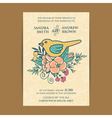 invitation card wiyh flowers and bird vector image vector image