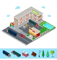 Isometric Motel with Parking Zone and Bar vector image