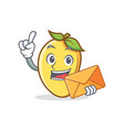 mango character cartoon mascot with envelope vector image vector image