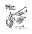 music heart in vintage style jazz musical vector image
