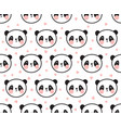 panda pattern with hearts vector image vector image
