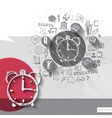 Paper and hand drawn alarm clock emblem with icons vector image