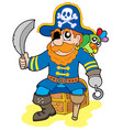pirate sitting on treasure chest vector image vector image