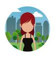portrait woman city background vector image