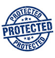 protected blue round grunge stamp vector image vector image