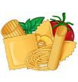 real italian pasta foodwith basil and tomato vector image vector image