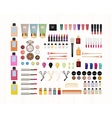 Realistic set of cosmetics on white wooden vector image vector image