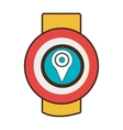 Red and yellow watch with location icon on the vector image