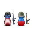 Russian and USA military dolls vector image vector image