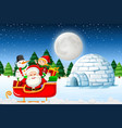 santa at the winter landscape vector image vector image