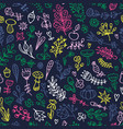 seamless floral pattern with doodles branches vector image