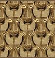 seamless pattern vintage woodenn bull vector image
