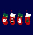 set christmas socks with claus christmas tree vector image