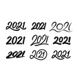 set new year 2021 calligraphy numbers vector image vector image