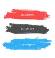 set of three watercolor stroke banner design vector image vector image
