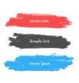 set three watercolor stroke banner design vector image vector image
