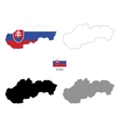 Slovakia country black silhouette and with flag on vector image vector image