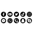 social media icons black colored icon set vector image