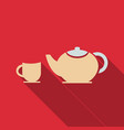 tea set happy tea drinking in flat style with vector image vector image