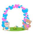 teddy bear with heart frame vector image