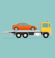 tow truck with car on it flat style vector image