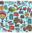 Travel sketch seamless pattern vector image vector image