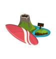 tropical island and surfboard icon vector image