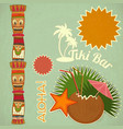 Vintage hawaiian tiki postcard vector | Price: 1 Credit (USD $1)