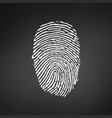 white fingerprint icon on modern black background vector image vector image