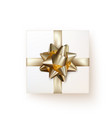 white gift box with golden silk bow in realistic vector image
