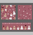 winter set of 3 seamless patterns in pastel colors vector image vector image