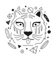 with abstract black and white tiger head vector image
