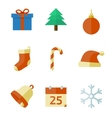 Christmas icons in flat style vector image
