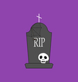 Headstone and skull vector image